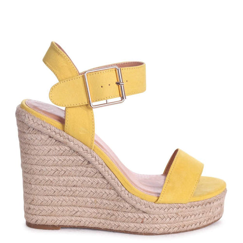CUBA - Yellow Suede Rope Platform Wedge