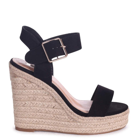 LOUISE - Black Nappa Block Heeled Sandal With Stacked Heel & Velcro Strapa