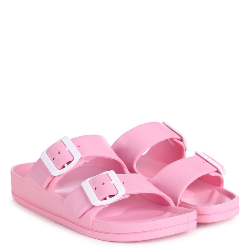 BECKY - Pink Slip On Slider With Double Buckle Front Strap