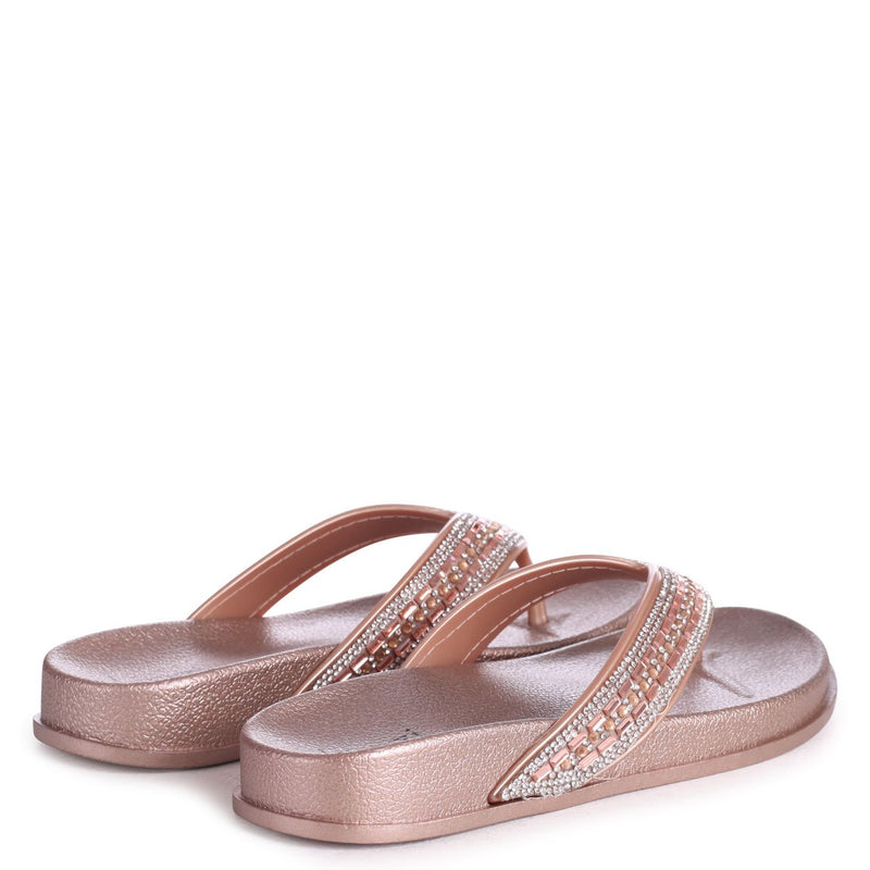 ISABELLA - Rose Gold Diamante Toe Post Style Sandal