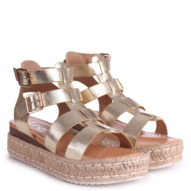 MADRID - Gold Nappa Gladiator Espadrille Platform Wedge