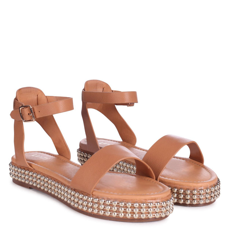 CALL ME BABY - Tan Nappa Two Part Sandal With Studded Trim Detail