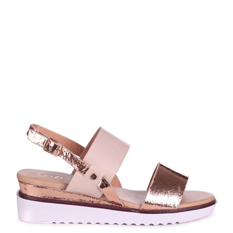 VALERIA - Rose Gold & Nude Wedged Sandal With Double Front Strap