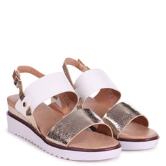 VALERIA - Gold & White Wedged Sandal With Double Front Strap