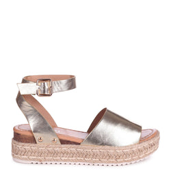 MOONLIGHT - Gold Nappa Two Part Espadrille Inspired Platform Wedge