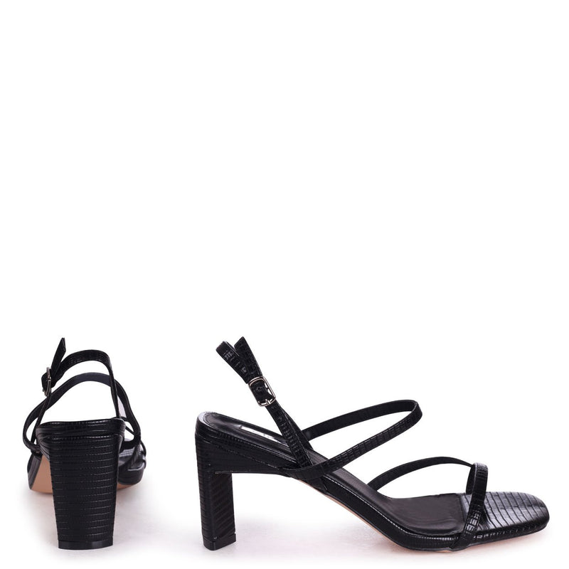 DIAMOND - Black Lizard Strappy Toe Post Heeled Sandal