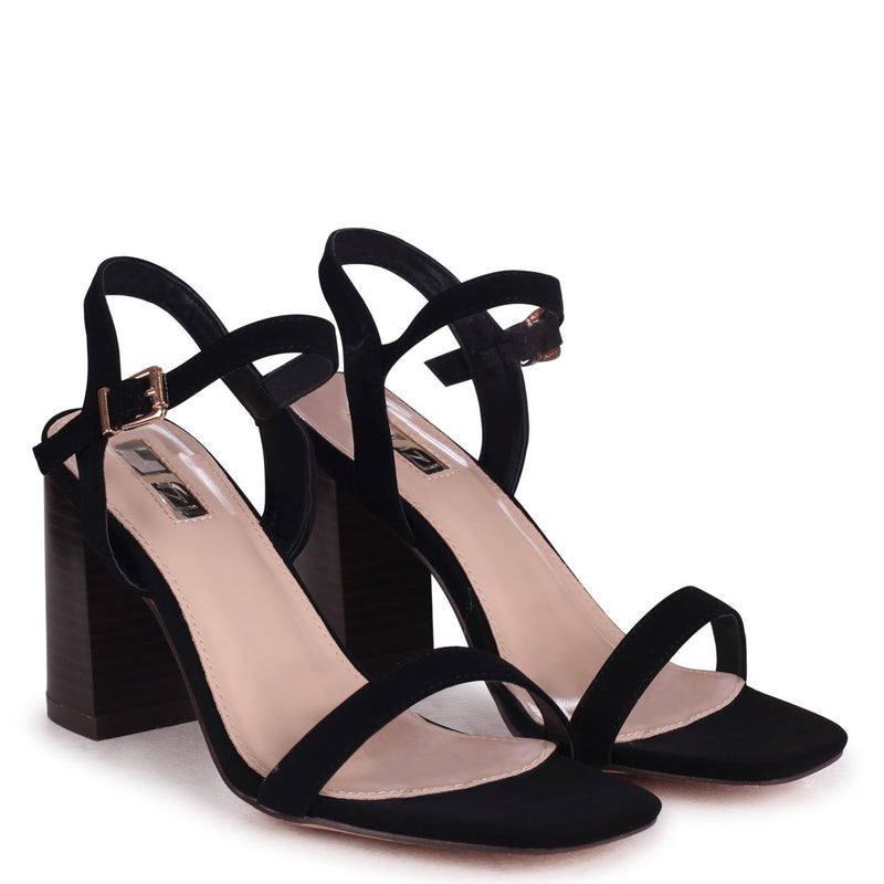 HARLEY - Black Nubuck Barely There Stacked Heeled Sandal