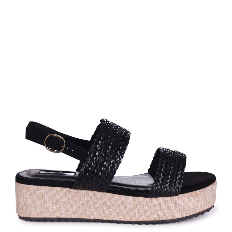MOROCCO - Black Flatform With Plaited Front Straps