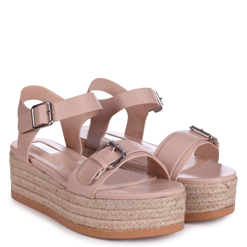 ANIKA - Beige Espadrille Flatform With Large Buckle Detail