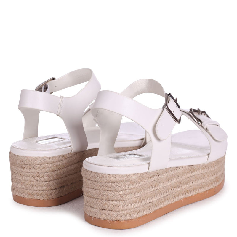 ANIKA - White Espadrille Flatform With Large Buckle Detail