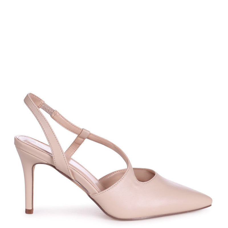 BERKELEY - Nude Nappa Wrap Around Sling Back Court Heel