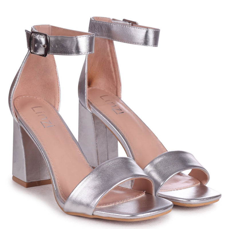 LATTE - Silver Leather Barely There Block Heeled Sandal