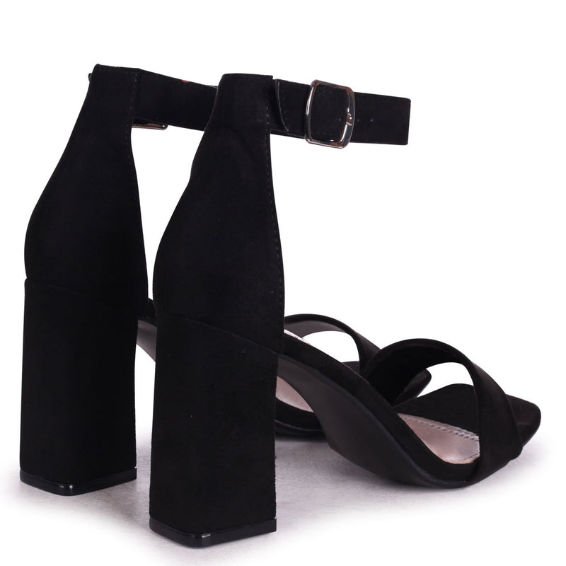 LATTE - Black Suede Barely There Block Heeled Sandal