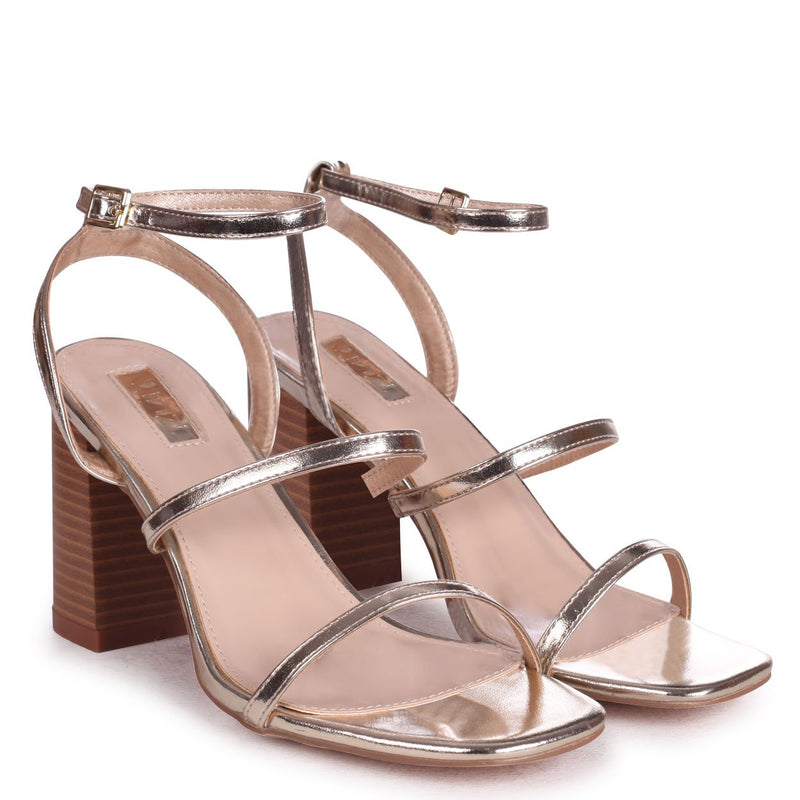 BONDI - Gold Metallic Strappy Block Heeled Sandal