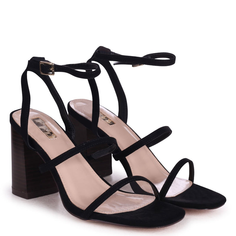 BONDI - Black Suede Strappy Block Heeled Sandal