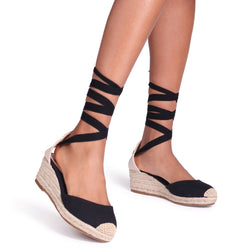 MELROSE - All Black Canvas Closed Toe Espadrille Low Wedge With Tie Up Straps