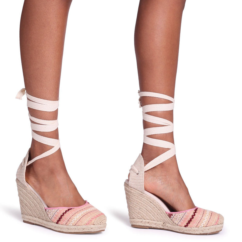 MEGHAN - Multicoloured Aztec Design Canvas Closed Toe Espadrille Wedge With Tie Up Straps