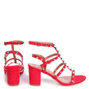 TESSA - Red Suede Studded Block Heeled Sandal