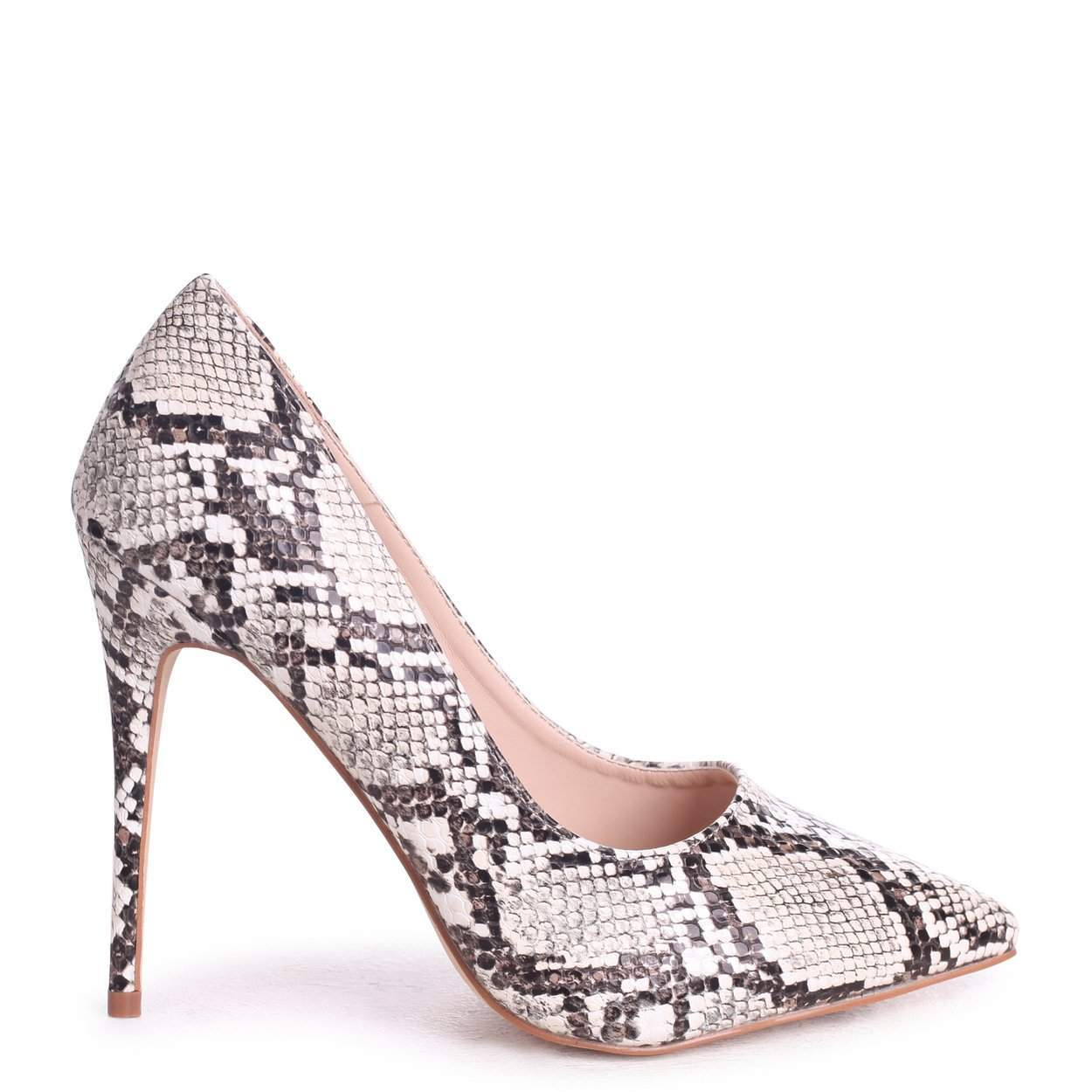 ASTON - Taupe Snake Nappa Classic Pointed Court Heel
