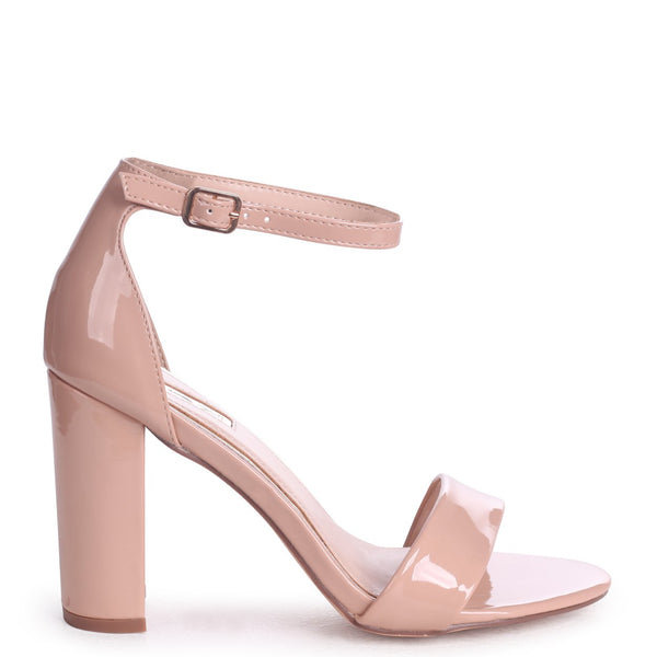 NELLY - Nude Faux Patent Leather Suede Single Sole Block Heel