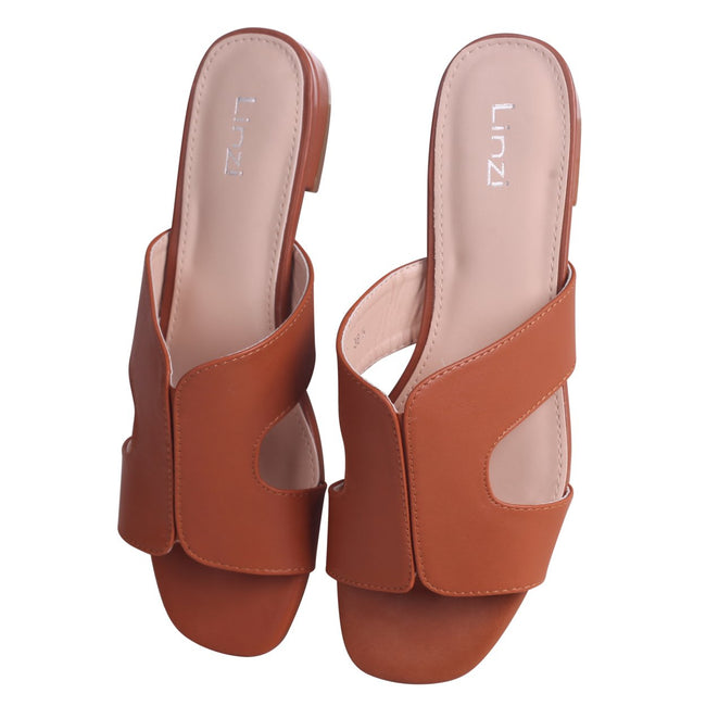 MIAMI - Tan Nappa Slip On Slider With Square Toe