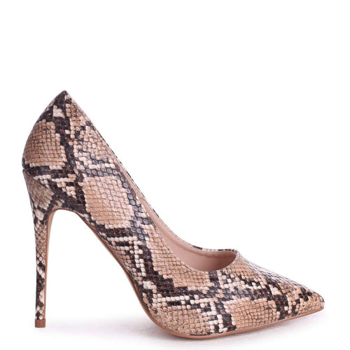 ASTON - Brown Snake Nappa Classic Pointed Court Heel