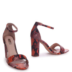 NELLY - Orange Snake Nappa Suede Single Sole Block Heel
