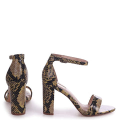 NELLY - Yellow Snake Nappa Suede Single Sole Block Heel