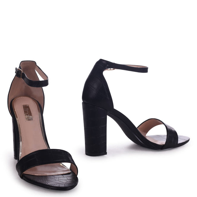 NELLY - Black Croc Nappa Single Sole Block Heel