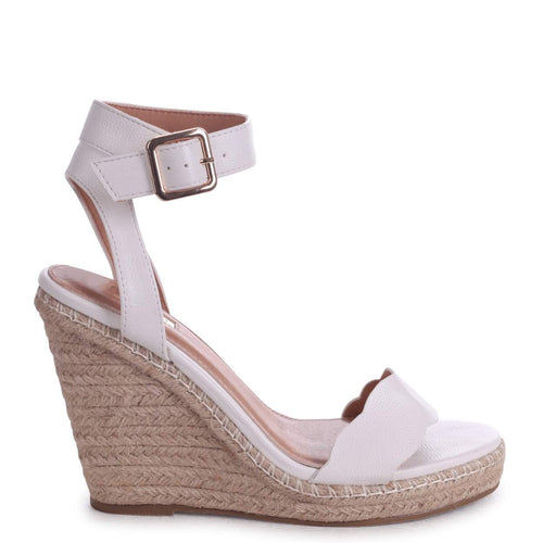 MARS - White Nappa Rope Platform Wedge With Wavey Front Strap
