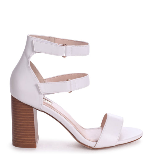 0673525835a LOUISE - White Nappa Block Heeled Sandal With Stacked Heel  amp  Velcro  Strapa