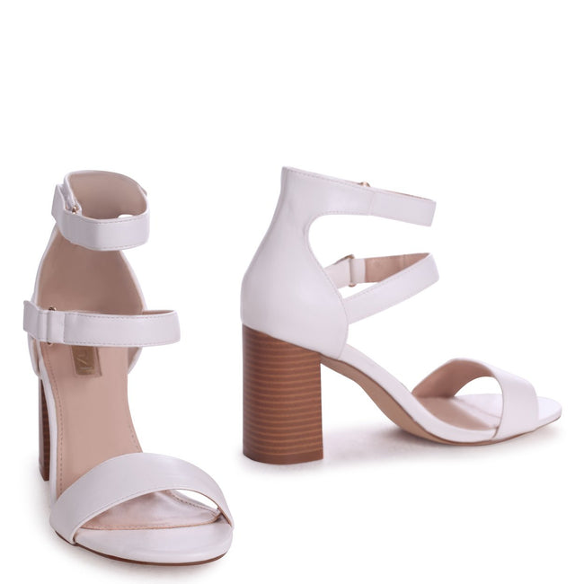 LOUISE - White Nappa Block Heeled Sandal With Stacked Heel & Velcro Strapa