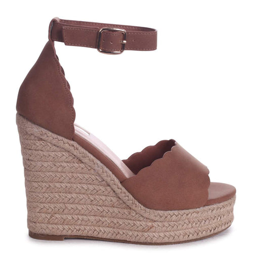CHERISH - Tan Suede Rope Platform Wedge With Wavey Front Strap