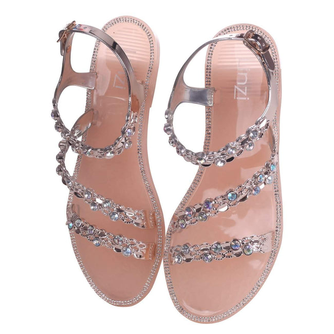 CEECEE - Nude Jelly Heavily Embellished Triple Strap Sandal