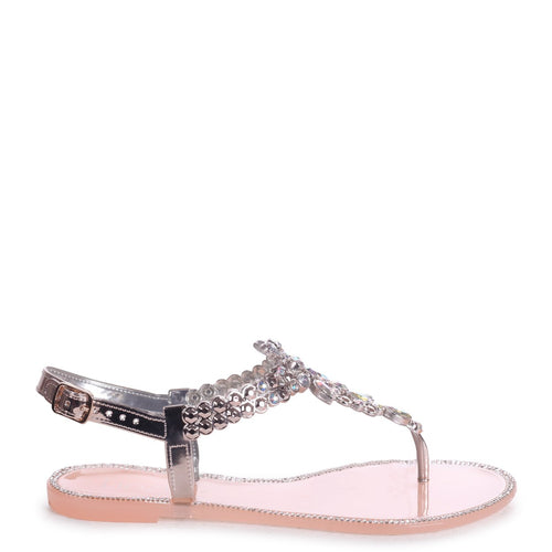 CHAR - Nude Jelly Heavily Embellished Toe Post Sandal