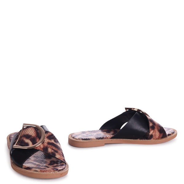 VEGAS - Leopard Slip On Slider With Crossover Front Strap & Giant Buckle Detail