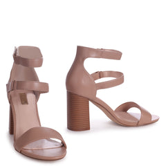 LOUISE - Mocha Nappa Block Heeled Sandal With Stacked Heel & Velcro Strapa