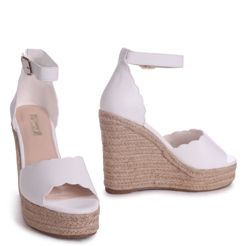 CHERISH - White Nappa Rope Platform Wedge With Wavey Front Strap