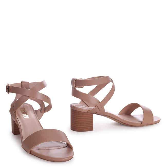 SERENA - Mocha Nappa Stacked Block Heel Sandal With Crossover Ankle Straps