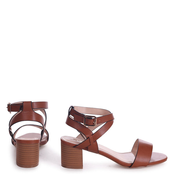 SERENA - Cognac Nappa Stacked Block Heel Sandal With Crossover Ankle Straps