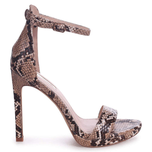 GABRIELLA - Brown Snake Nappa Barely There Stiletto Heel With Slight Platform