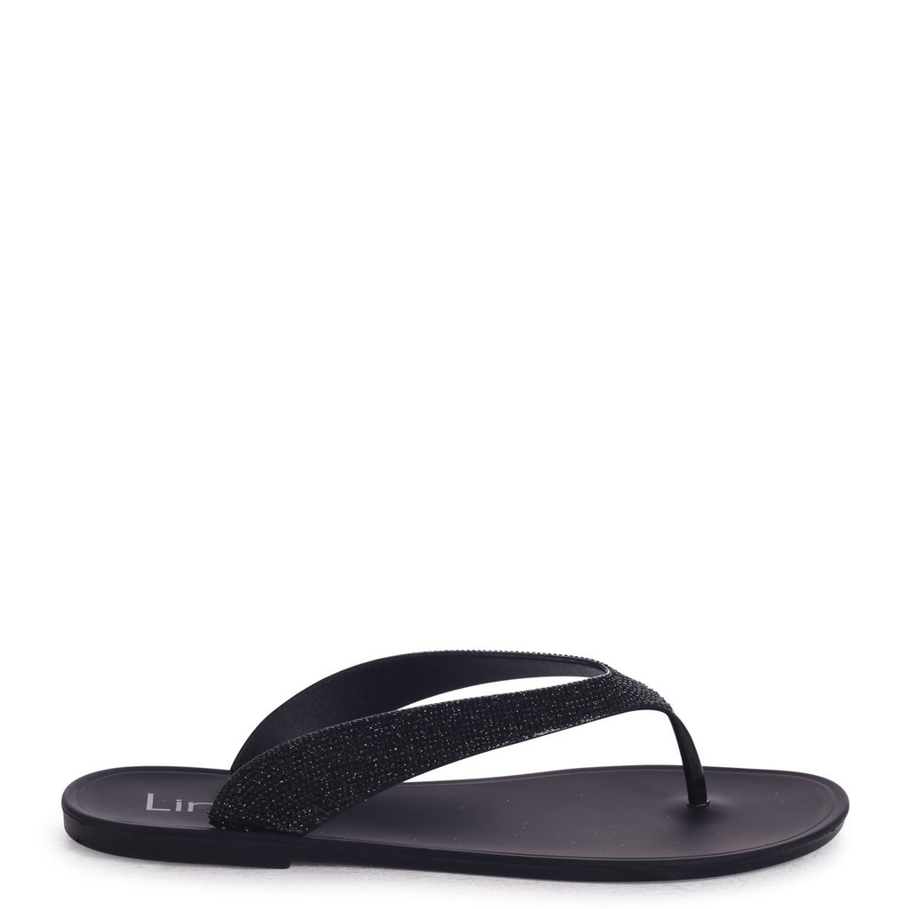 ORCHID - Black Flip Flop With Glitter Straps