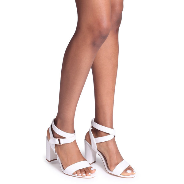 ABBY - White Block Heeled Sandal