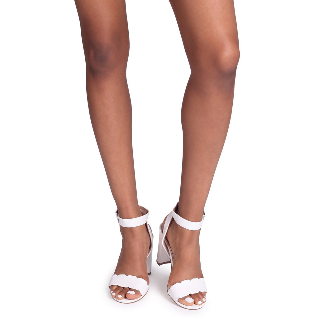 8a850f3ab619 DARLA - White Nappa Open Toe Block Heel With Ankle Strap Wavey Front Strap  Detail