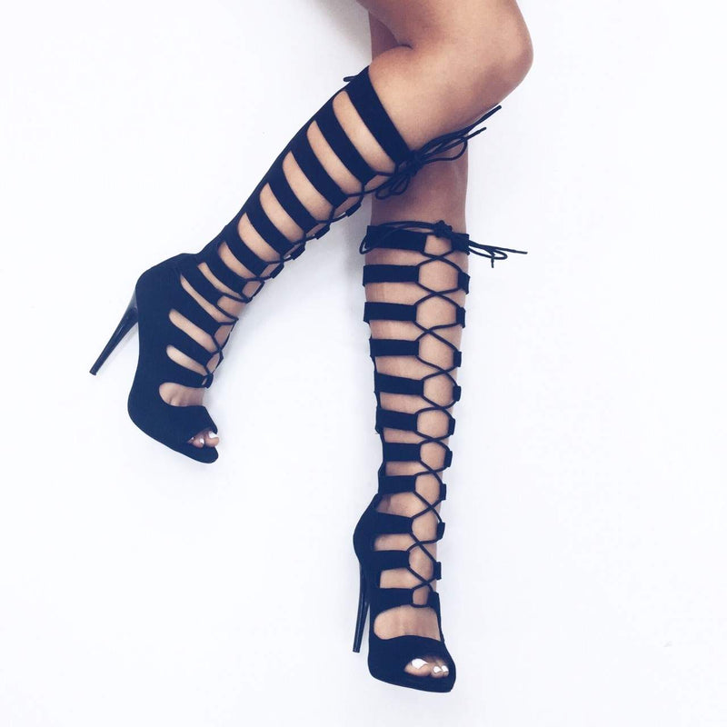 Suede Knee High Lace Up Gladiator Heels