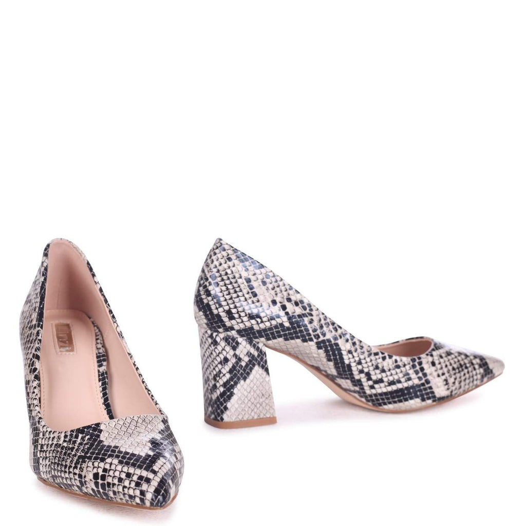 60c6fbf8fef MAGIC - Natural Snake Print Block Heel Court Shoe – AX Paris