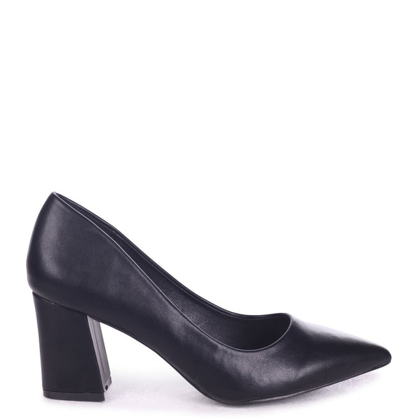 11175fce43328a MAGIC - Black Nappa Block Heel Court Shoe – AX Paris