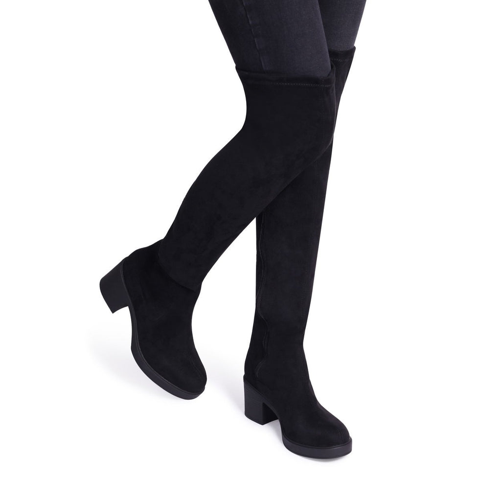 LIBRE - Black Suede Block Heeled Over The Knee Boot