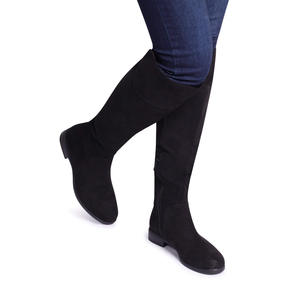 06d94f5e4dc SUZANNE - Black Suede Flat Knee High Boot – AX Paris