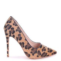TALLY - Tan Leopard Print Pony Classic Pointed Court Heel